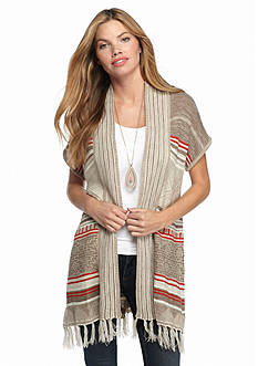 New Directions Stripe Fringe Hem Cardigan