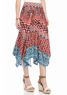 New Directions Aztec Hanky Hem Midi Skirt