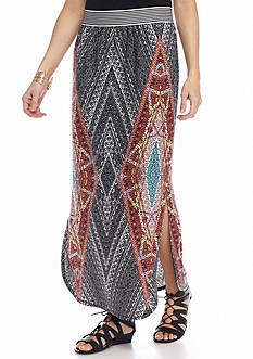 New Directions Stained Glass Curved Hem Maxi Skirt