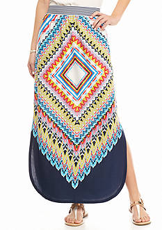 New Directions Aztec Curved Hem Maxi Skirt