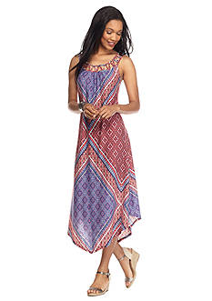 New Directions Americana Lattice Yoke Maxi Dress