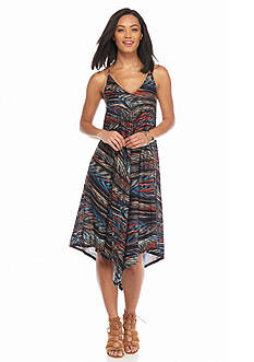 New Directions Faux Suede Trim Printed Dress
