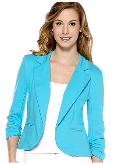 New Directions Solid French Terry Blazer Style Jacket