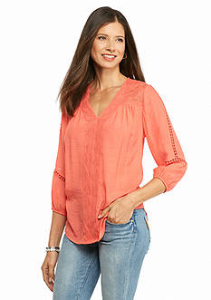 New Directions Gauze Lace Trim Blouse