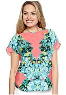New Directions® Placement Print Blouse