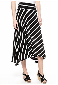 New Directions Shark Bite Hem Stripe Knit Skirt