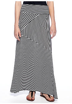 New Directions Fold Over Stripe Maxi Skirt
