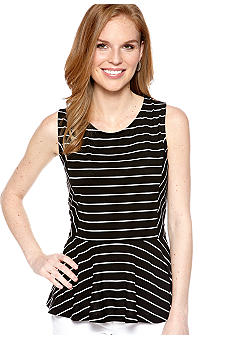 New Directions Stripe Peplum Sleeveless Top
