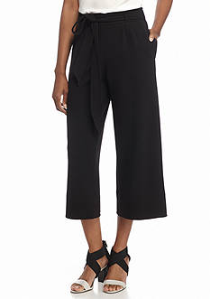 New Directions Tie Front Wide Leg Ankle Pants