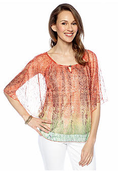 New Directions Printed Lace Circle Body Top