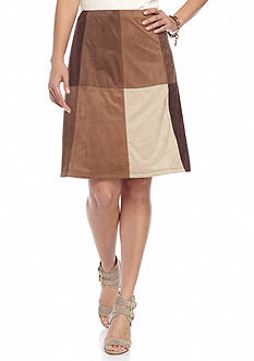 New Directions Petite Suede Patchwork Skirt