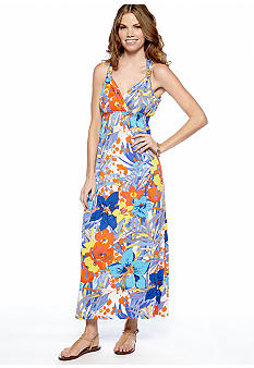 New Directions Petite Printed Maxi Dress with Bead Trim