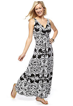 New Directions Petite Banded Crossover Print Maxi Dress