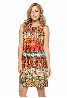 New Directions Petite Printed Dress with Circle Neckline