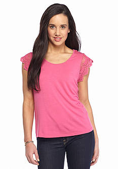 New Directions Petite Crochet Lace Cap Sleeve Top