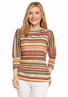 New Directions Petite Stripe Burnout Knit Top
