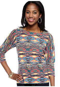 New Directions Petite Printed Top with Puff Sleeves