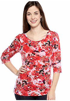 New Directions Petite Floral Print Top with Puff Sleeves