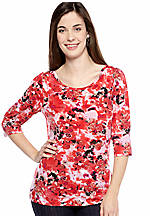 New Directions® Petite Floral Print Top with Puff Sleeves