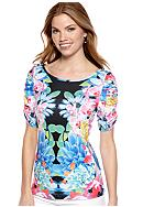 New Directions® Petite Floral Print Top with Rouched Sleeves