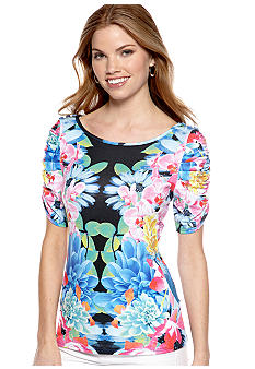 New Directions Petite Floral Print Top with Rouched Sleeves