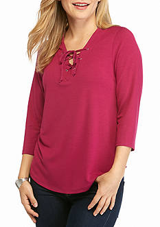 New Directions Petite Three Quarter Sleeve Lace-Up Top