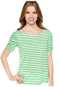 New Directions Petite Stripe Ruched Sleeve Top with Button Detail