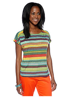 New Directions Petite Stripe Hi Low Tee with Stud Embellishment