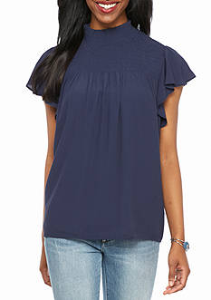 New Directions Petite Solid Mock Neck Top