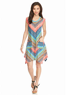 New Directions Petite Chevron Print Dress