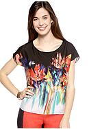 New Directions® Petite Printed Boxy Tee with Hi Low Hemline