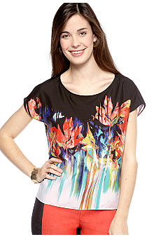 New Directions Petite Printed Boxy Tee with Hi Low Hemline