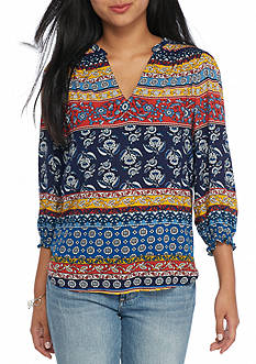 New Directions Petite Size Smock Shoulder Sleeve Top