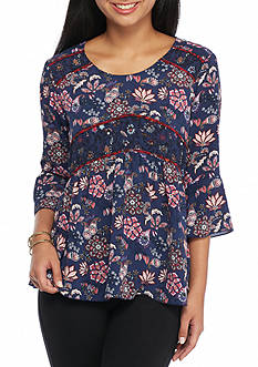 New Directions Petite Floral Print Babydoll Top