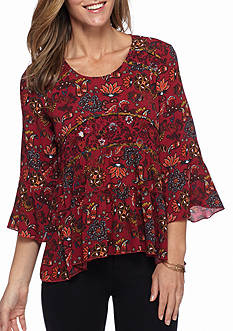 New Directions Petite Twin Printed Blouse