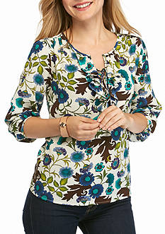New Directions Petite Size Ruffle Front Floral Top