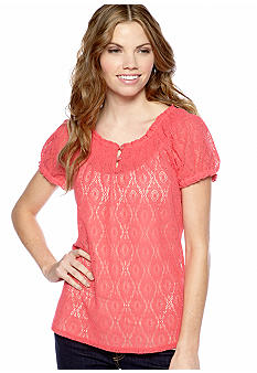 New Directions Petite Lace Peasant Top