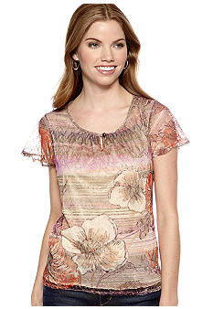 New Directions Petite Floral Lace Top with Keyhole