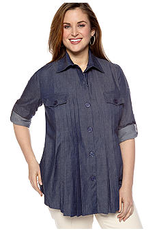 New Directions Plus Size Denim Pleated Front Shirt