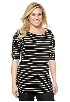 New Directions Plus Size Ruched Sleeve Striped Top