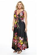 New Directions® Plus Size Printed Maxi Dress