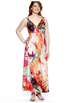 New Directions Plus Size Printed Maxi Dress