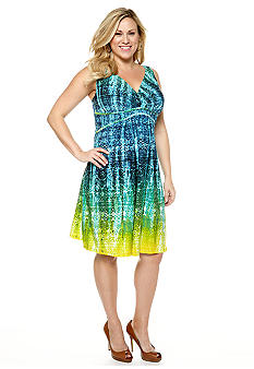 New Directions Plus Size Printed Empire Waist Dress