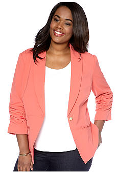 New Directions Plus Size Ruched Sleeve Jacket