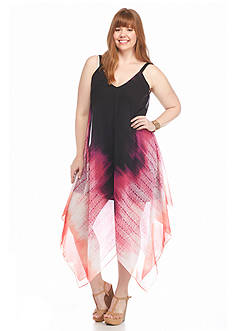New Directions Plus Size Chiffon Ombre Maxi Dress