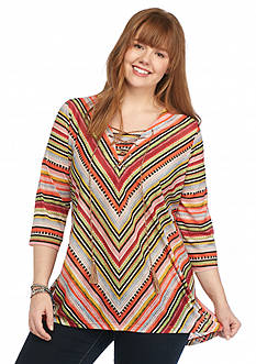 New Directions Plus Size Lace Up Stripe Top