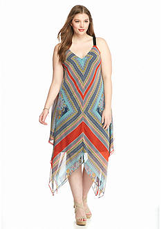 New Directions Plus Size Printed Trapeze Dress
