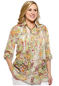 New Directions Plus Size Pleat Front Chiffon Blouse