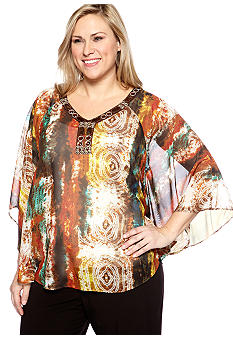 New Directions Plus Size Jewel Neck Poncho