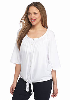 New Directions Plus Size Tie Front Top